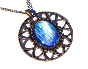Real Blue Morpho Butterfly Wing Pendant Necklace, Zephrytis Insect Jewelry, Vintage Style Statement Necklace