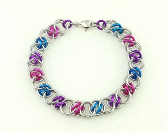 Chainmaille Jewellery, Acute Helm bracelet, pink, purple, blue, cotton candy