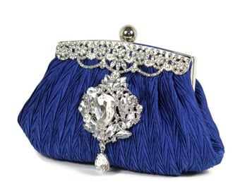 Cobalt Blue Bridal Clutch, Blue Clutch, Bridesmaids Clutch, Evening Bag, Wedding Accessories, Bridal Accessories