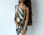 Black, white and gold print stretch asymmetrical one sleeve dress and jewelry for 16 inch fashion dolls