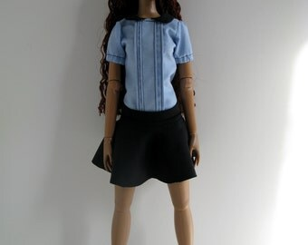 OOAK Light blue cotton school-girl shirt with black mini skirt for 16 inch fashion dolls