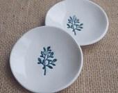 Teal Branch Porcelain Dish Set, Set of 2, Mrs Peterson Pottery