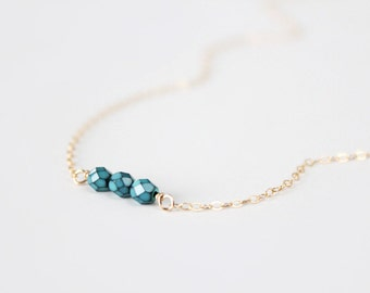 Beaded Necklace - Sweet Pea - Turquoise Howlite