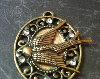 Antiqued Brass Victorian Bird Necklace