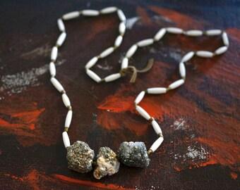 triUne necklace : bone, brass & rough pyrite