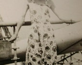 Vintage Summer Photo - Woman in a Sun Dress & Large Sun Hat