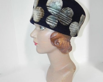 Vintage 60s Hat cloche with Iridescent Clovers - on sale
