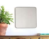 Square Wall Mirror with Rounded Corners Cube Shaped Plain Simple Accent Metal Lead Frame 12""