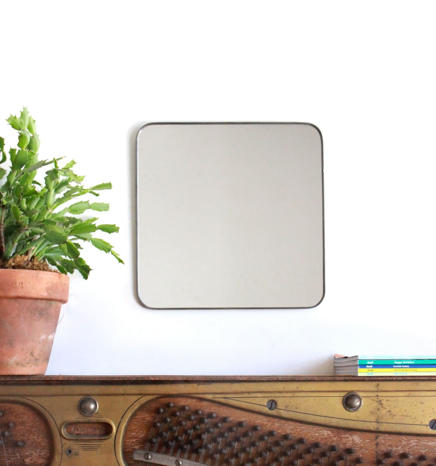 Square wall mirror with rounded corners cube shaped plain zoom amipublicfo Gallery
