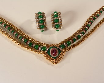 Vintage 1960s Metall Necklace Earrings - Green Beaded Rhinestones - Holiday Fashions