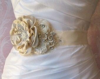 Ivory and Champagne Bridal Sash, Wedding Belt, Flower Sash, Rhinestone and Pearls - ANALIE