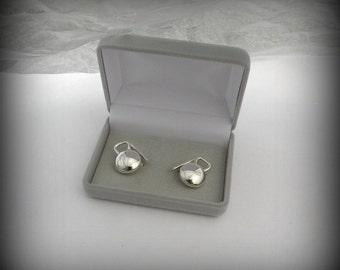 Kettlebell Cuff Links, Sterling silver cuff links