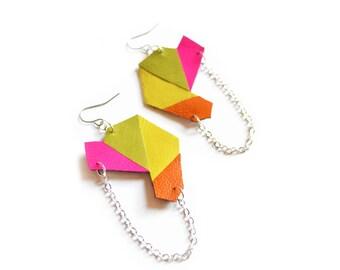 Geometric Earrings, Neon Geometric Jewelry, Pink, Yellow Earrings, Colorful Polygon Dangle Earrings, Tanagram Neon Kaleidoscope and Chain