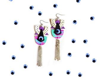 Geometric Eye Dangle Earrings, Triangle and Crescent Polka Dots, Cartoon Pop Art, Third Eye Jewelry
