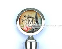 Personalized gifts for women - Personalized Wine Stopper, Wine Bottle Stopper  - Paris Eiffel tower with initial monogram