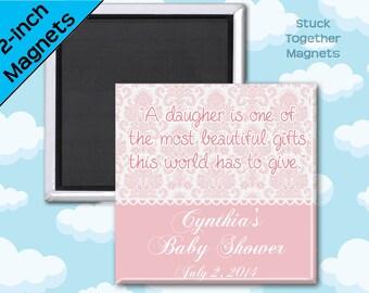 Pink Damask Baby Shower Favor Magnets - 2 Inch Squares - Set of 10 Magnets