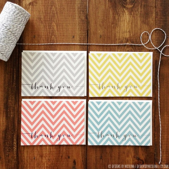 Signature Chevron Thank You Note Cards // Thank You Notes & Envelopes // 3.5x5 Flat Cards