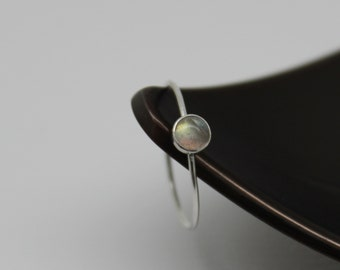 Barely There Labradorite Stack Ring - Sterling Silver