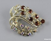 Abtract Brooch Pin Amber & AB Rhinestones Gold Tone 50s