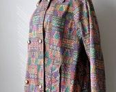 Vintage 60s Lightweight Jacket Coat with Geometric Design