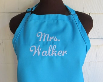"TURQUOISE BLUE ""Mrs."" Wedding Apron - New Married Name - Monogrammed Personalized Apron - Bridal Shower Gift"