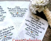 Wedding Gift Personalized  Mother & Father of the Bride In-Law Stepmother Sister Gifts Handkerchief By Canyon Embroidery