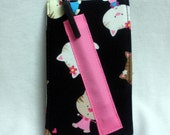 Notepad Holder - Purse Size Notebook and Pen - Kittens - Pink and Black