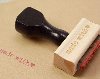 MADE WiTH LOVE rubber stamp - typewriter font & heart - stationery rubber stamp for gift tags, card making, packaging