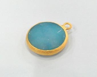 21 mm. Blue Stone Pendants , Gold Plated  Bezel ,   G918