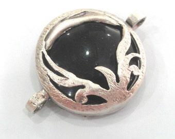 Silver Connector Pendant Black Pendant Connectors , Antique Silver Plated Brass  Bezels 28 mm G1121