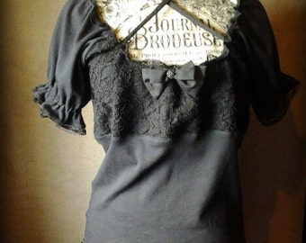 Gothic Victorian black peasant blouse top, custom made to order from Battie Clothing