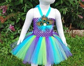 Vibrant Peacock Tutu Dress and Matching Headband and Hair Clip Set - Size 2T to Girl's Size 6 - Can Be Worn Different Ways