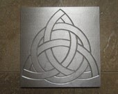 Trinity Knot, Celtic Wall Art, 6 x 6 inch Tile, Recycled Cast Aluminum, Made to Order
