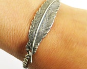 Steampunk Feather Bracelet- Sterling Silver Ox or Antiqued Brass Finish- Medium Feather