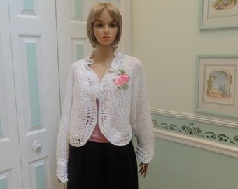SUMMER, White Sweater, light weight, designer style , ladies, lacey open pattern stitch, medium sized, floral beaded applique
