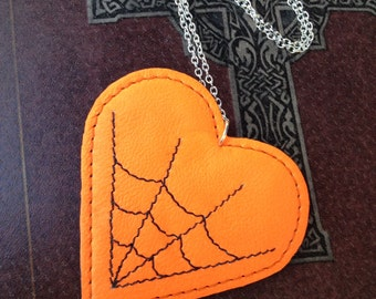 Orange and Black Spiderweb Necklace