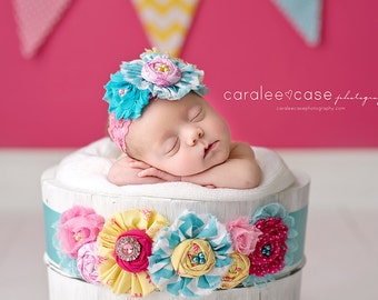 Mirielle-- yellow pink and aqua headband AND maternity sash or infant wrap SET with lace, rosettes, chiffon flowers and ruffles