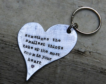 Hand Stamped Heart Keychain in Aluminum - The Smallest Things - Perfect for New Parents, Baby Showers