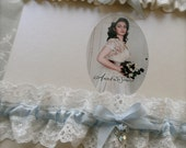 Blue bridal garter set, luxury silk and Nottingham lace garter, matching satin ribbon garter