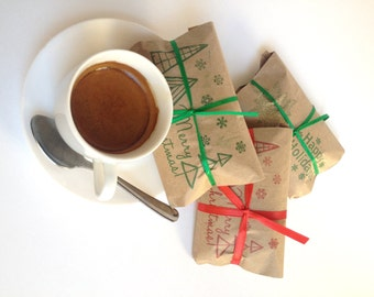 Stocking Stuffer Ready to Ship // Christmas Coffee-Set of 3. Freshly roasted, gourmet coffee favors.