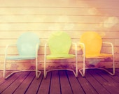 SALE 25% OFF! Fine Art Photography, Vintage Patio Chairs, Still Life Photo, Home Wall Art, Print, Mid Century Modern Decor, Pastel Colors