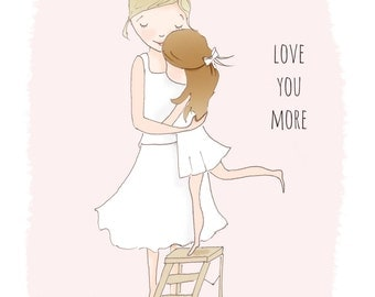 Childrens Wall Art- Love You More- -  Pretty Art for Childrens Room -   Art Print - 8x10