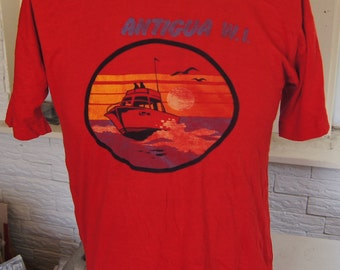 t shirt (vintage) Antigua West Indies Thin Red Rayon Yacht Sunset Tee (42 inches around chest)