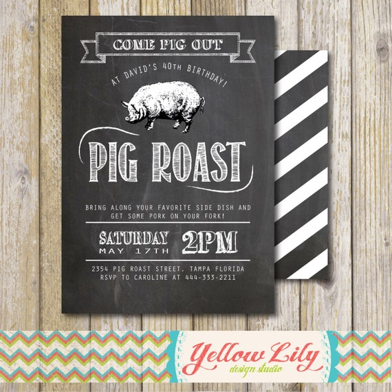 Pig Roast Party Invitation Birthday / House Warming / Couples