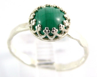 Malachite Cabochon Crown Sterling Silver Stacking Ring