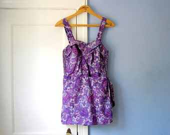 50s Swimsuit Purple 1950s Bathing Suit Vintage 1950s Swimsuit Swim Dress Cotton Playsuit 50s Pinup Swim Suit Swimming  Flair Miami Swimwear