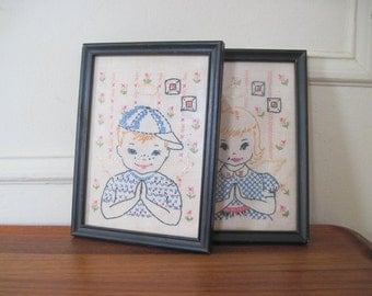 1950s needlepoint portraits - vintage brother & sister, boy and girl framed art - SWEET ANGELS, cherubs, pink and blue, NURSERY