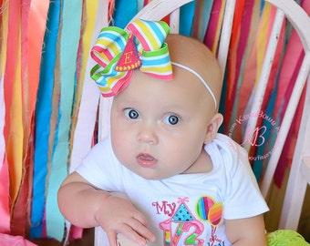 1/2 Birthday Baby Girl Rainbow Bodysuit, 6 Month Outfit, Personalized Half Birthday Hair Bow, Rainbow