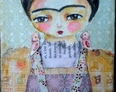 Frida kahlo birds wall art original mixed media painting soft colors pink green
