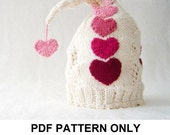 Knit Hat Knitting Pattern - Kids Valentines Day Hat Pattern - the LACEY Hat (Newborn Baby Toddler Child & Adult sizes incl'd)